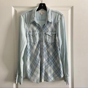 Lucky Brand Button Down Black Denim Shirt M